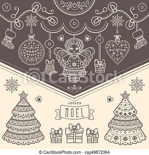 Christmas Card Joyeux Noel Decor Nativity Message Original