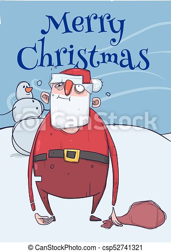christmas card of funny drunk santa claus with a bag standing next to snowman in frosty windy - Drunk Christmas