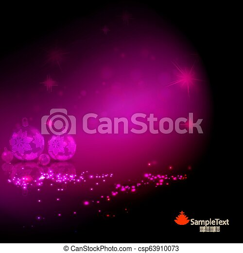 Christmas card pink with a set of Christmas balls with snowflakes. - csp63910073