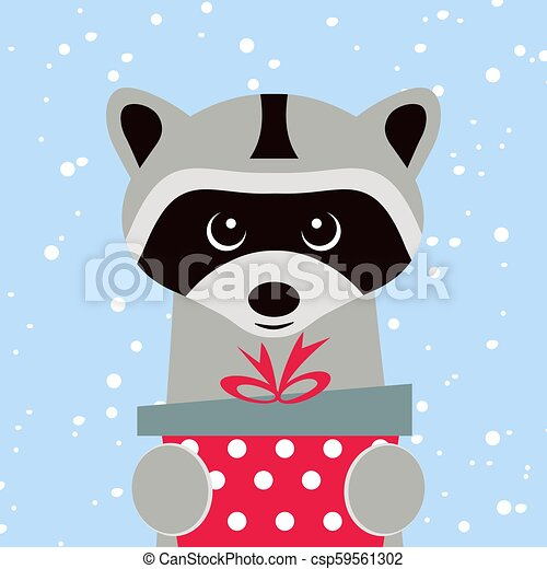 Christmas card. Portrait of raccoon with gift box, snowflake. Funny cartoon face of a raccoon. Vector illustration, Happy New Year 2019. - csp59561302
