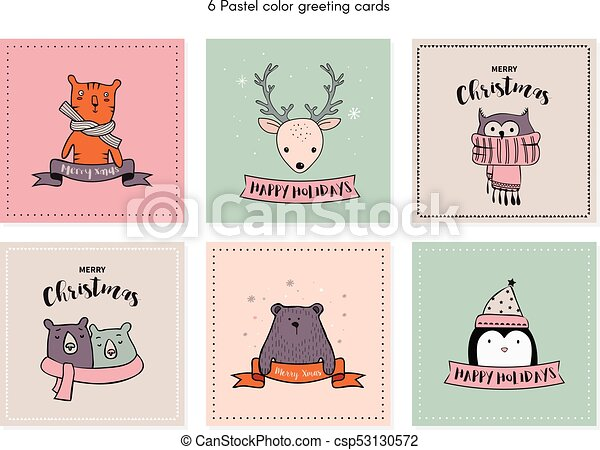Christmas Card Set With Winter Animals Vector Illustration