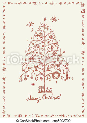 Christmas card, sketch drawing for your design  - csp8092702