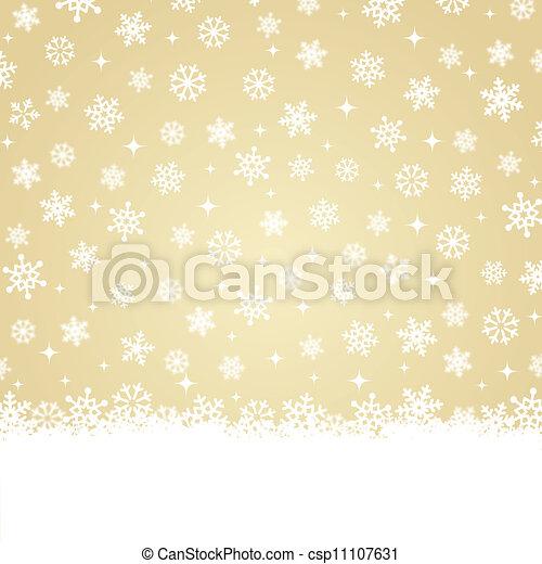 Christmas card - Snow on gold backg - csp11107631