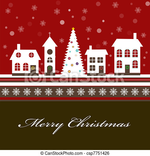 Christmas card with a beautiful little snow-covered winter town - csp7751426