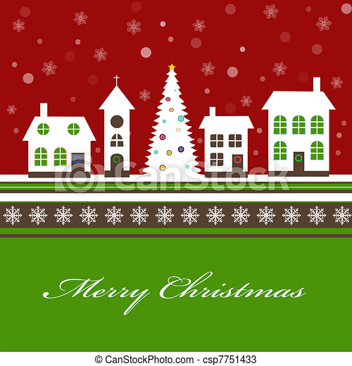Christmas card with a beautiful little snow-covered winter town - csp7751433