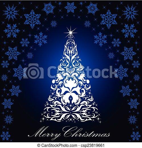 Christmas card with a Christmas tree . vector - csp23819661