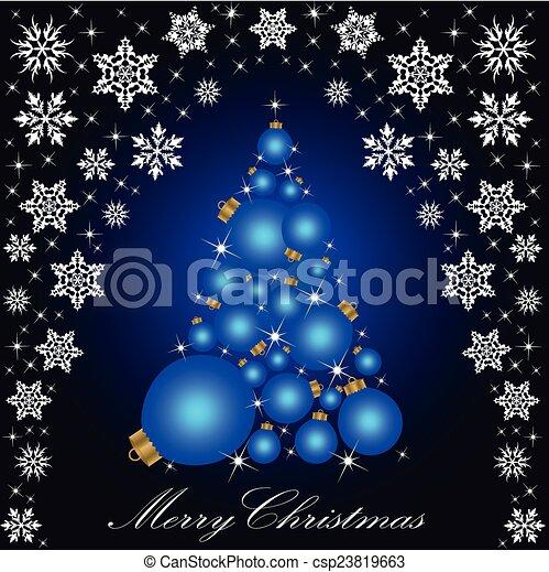 Christmas card with a Christmas tree . vector - csp23819663