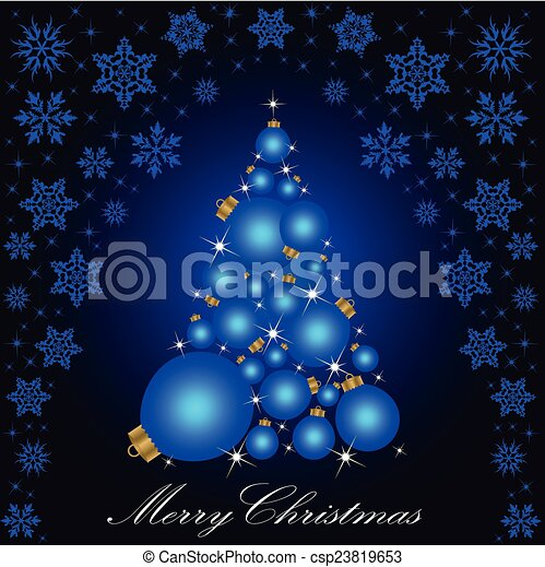 Christmas card with a Christmas tree . vector - csp23819653