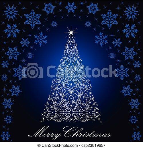 Christmas card with a Christmas tree . vector - csp23819657