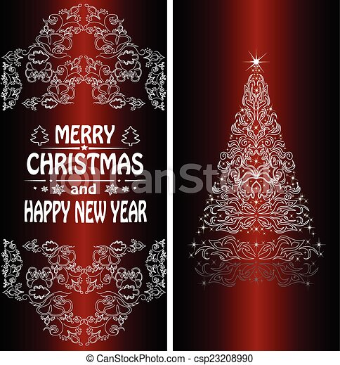Christmas card with a Christmas tree . vector - csp23208990