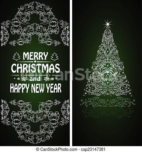 Christmas card with a Christmas tree . vector - csp23147381
