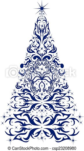 Christmas card with a Christmas tree. vector - csp23208980