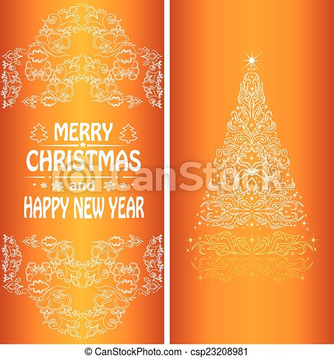 Christmas card with a Christmas tree . vector - csp23208981