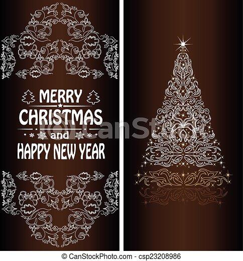 Christmas card with a Christmas tree . vector - csp23208986