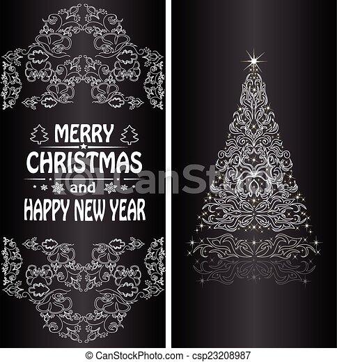 Christmas card with a Christmas tree . vector - csp23208987