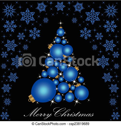 Christmas card with a Christmas tree. vector - csp23819689