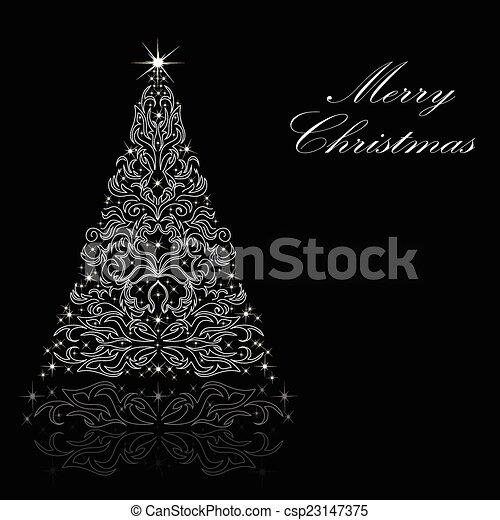 Christmas card with a Christmas tree. vector - csp23147375