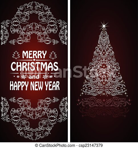Christmas card with a Christmas tree . vector - csp23147379