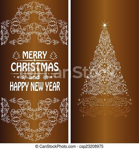 Christmas card with a Christmas tree . vector - csp23208975
