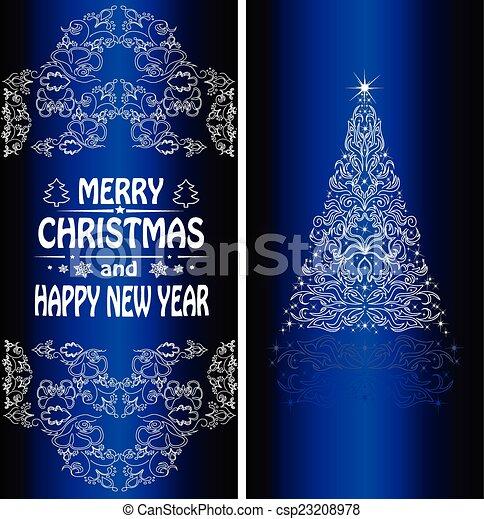 Christmas card with a Christmas tree . vector - csp23208978