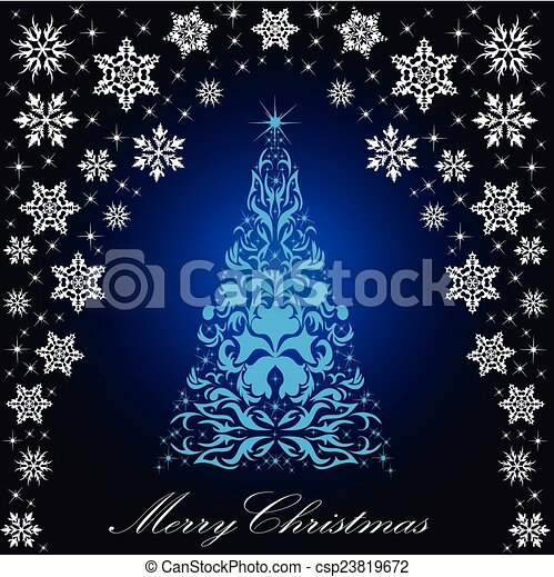 Christmas card with a Christmas tree . vector - csp23819672