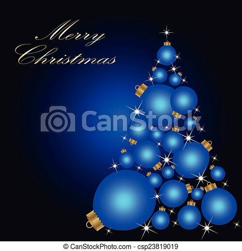 Christmas card with a Christmas tree . vector - csp23819019