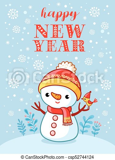 Christmas Card With A Cute And Funny Snowman Vector Illustration