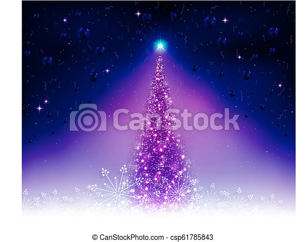 Christmas card with a shiny blue tree. - csp61785843