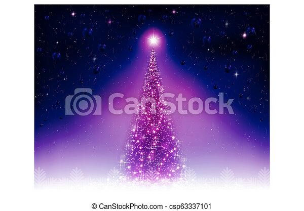 Christmas card with a shiny purple fir tree. - csp63337101