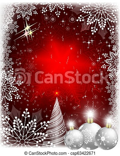 Christmas card with a white fur-tree and balls with snowflakes. - csp63422671