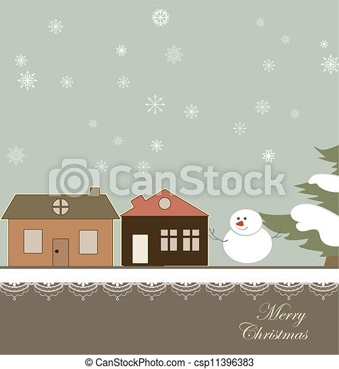 Christmas card with a winter town - csp11396383