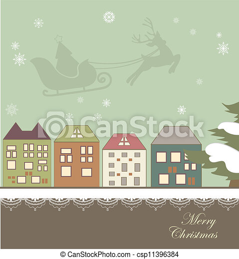 Christmas card with a winter town - csp11396384