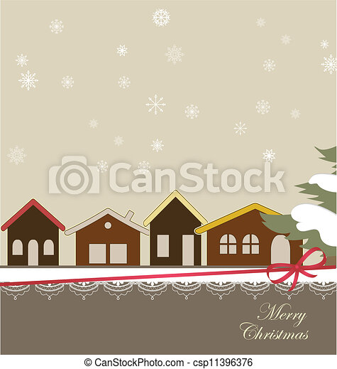 Christmas card with a winter town - csp11396376