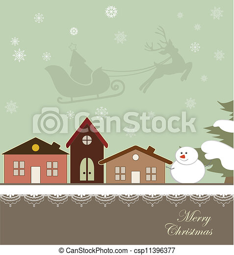 Christmas card with a winter town - csp11396377
