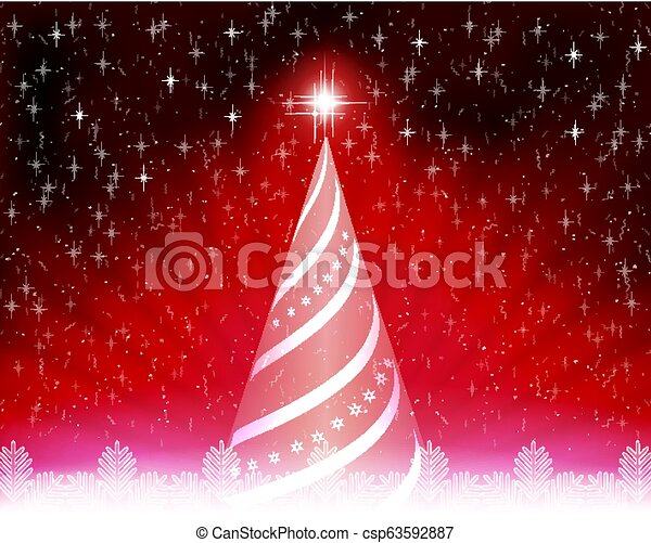 Christmas card with abstract tree, rays of light and white snowflakes. - csp63592887