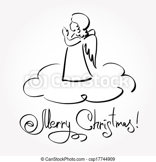 Christmas Card with Angel - csp17744909