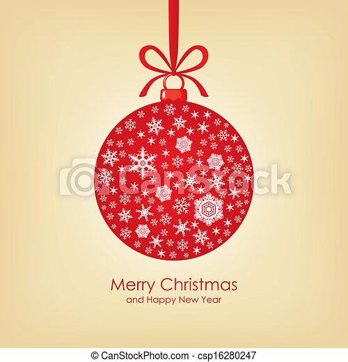 Christmas card with ball - csp16280247