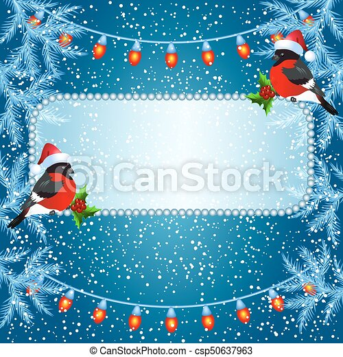 Christmas card with billboard and bullfinches - csp50637963