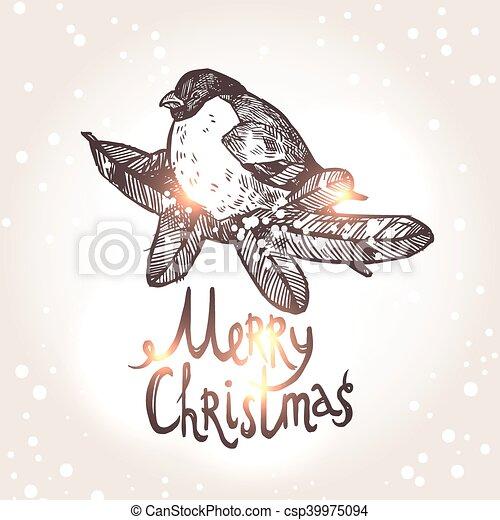 Christmas Card With Bullfinche - csp39975094