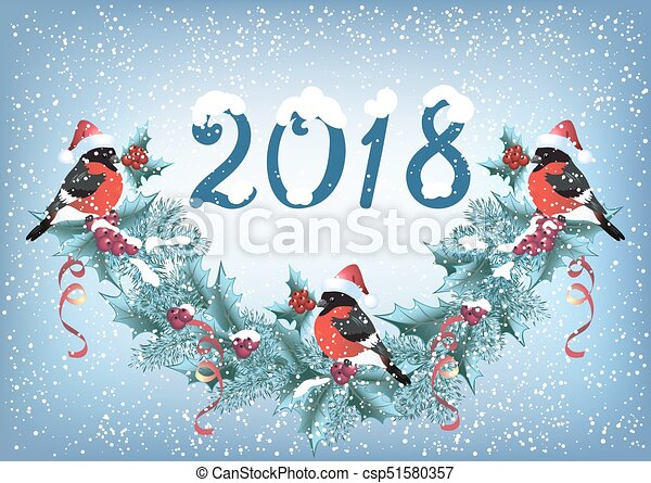 """Christmas card with bullfinches on the snowfall background in retro style with inscription """"2018"""" and christmas garland - csp51580357"""