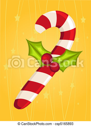 Christmas card with candy cane - csp5165893