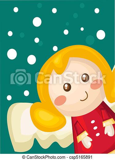 Christmas card with cartoon angel - csp5165891
