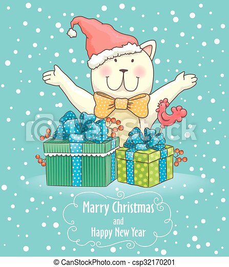 Christmas card with cat - csp32170201