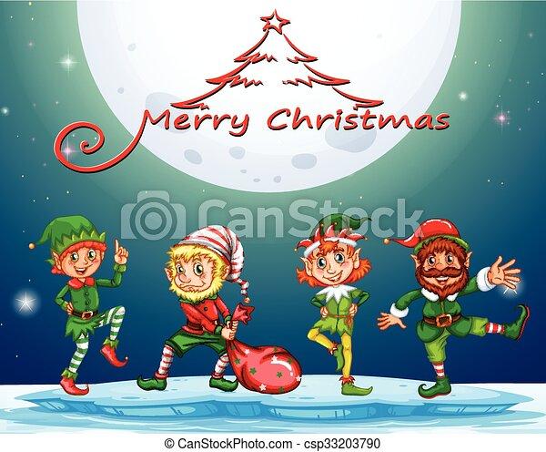 christmas card with elf on fullmoon csp33203790 - Elf Christmas Card