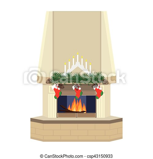 Christmas card with fireplace - csp43150933