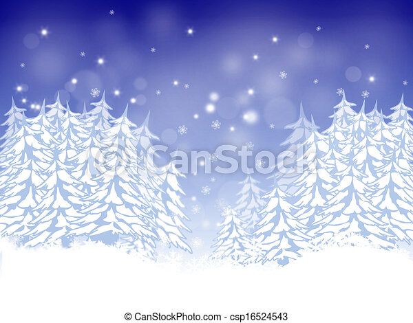 Christmas card with firs - csp16524543