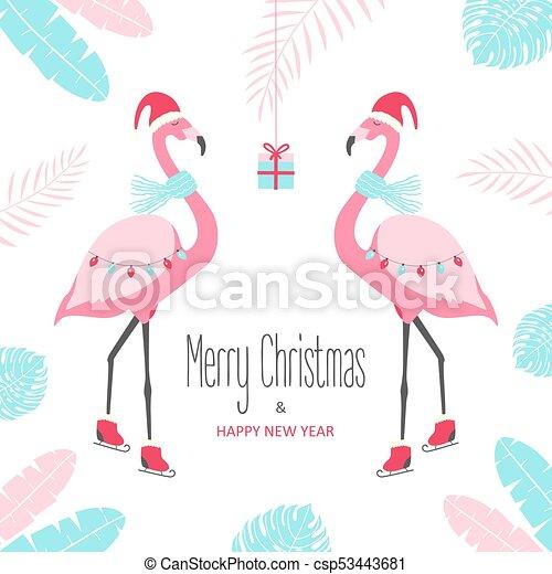 Christmas Card With Flamingo Vector Illustration
