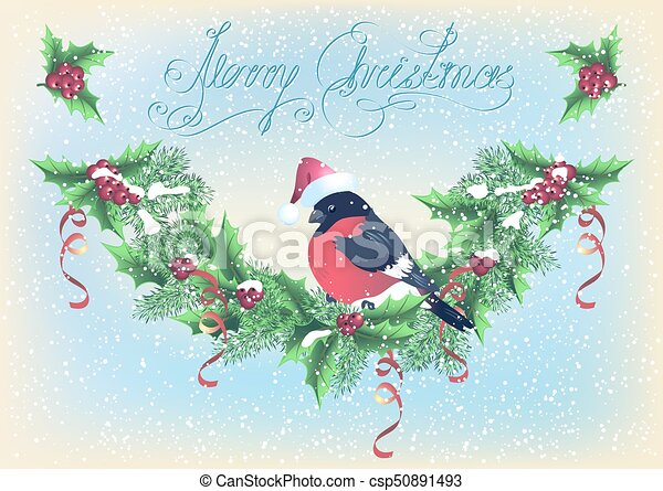 Christmas card with garland and bullfinch on the snowfall background - csp50891493