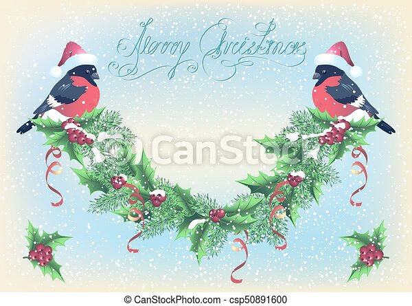 Christmas card with garland and bullfinch on the snowfall background - csp50891600