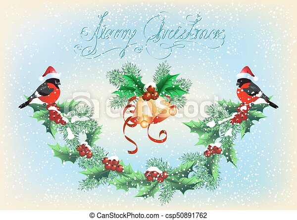 Christmas card with garland, bells and bullfinches on the snowfall background - csp50891762